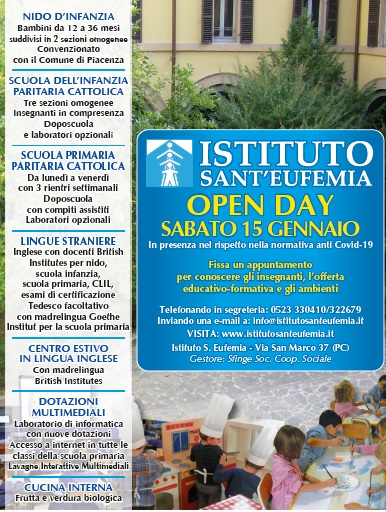 SABATO 18 GENNAIO OPEN DAY ALL'ISTITUTO S. EUFEMIA