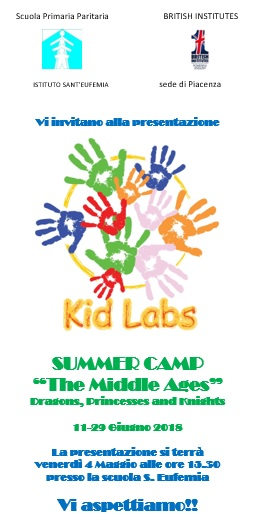 "S.EUFEMIA E BRITISH INSTITUTES INSIEME PER IL ""SUMMER CAMP-KID LABS"""
